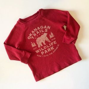 "JOE FRESH 2T RED LONG SLEEVE ""OKANAGAN TRAILS WILD"